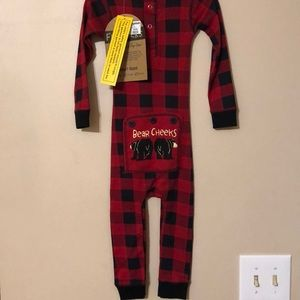 Red Buffalo check onesie with faux tushie flap